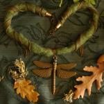 dragonfly green felt necklace
