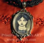 raven ghost girl gothic cameo necklace
